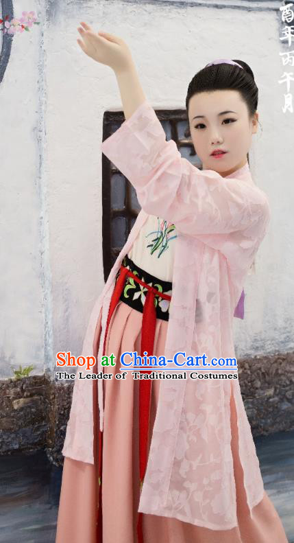 Traditional Chinese Ancient Costume Palace Lady Pink Embroidered BeiZi, Asian China Song Dynasty Imperial Princess Cardigan Clothing for Women