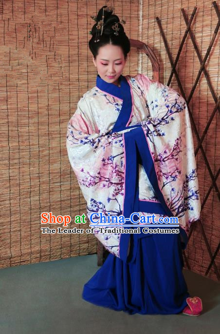 Traditional Chinese Ancient Young Lady Printing Costume Pink Curve Bottom, Asian China Han Dynasty Imperial Concubine Hanfu Clothing for Women