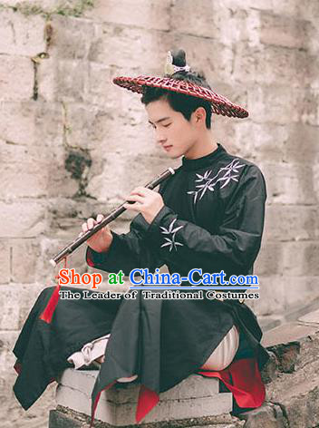Traditional Ancient Chinese Swordsman Hanfu Costume Embroidered Black Long Robe, Asian China Tang Dynasty Clothing for Men