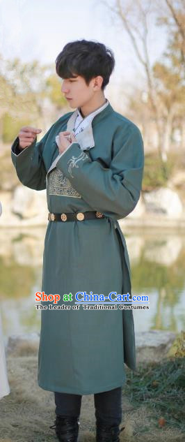 Traditional Ancient Chinese Swordsman Hanfu Costume Embroidered Green Long Robe, Asian China Tang Dynasty Clothing for Men