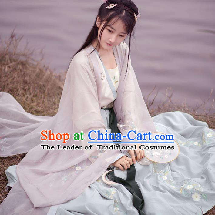Traditional Ancient Chinese Palace Lady Hanfu Costume Embroidered Cardigan Blouse and Skirt, Asian China Tang Dynasty Imperial Princess Clothing for Women