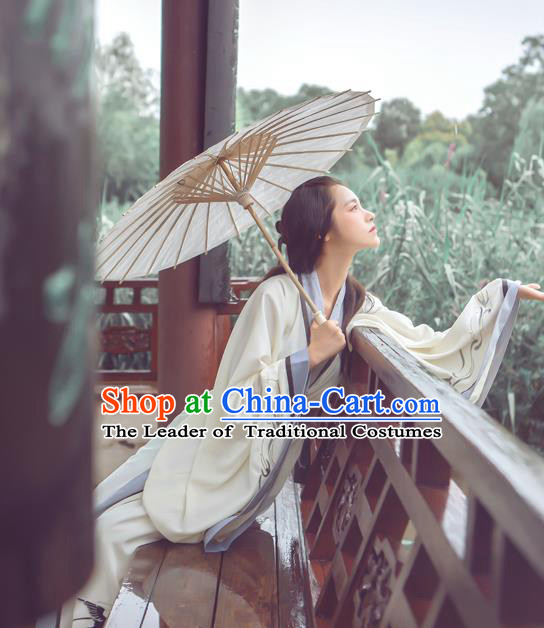 Traditional Ancient Chinese Palace Lady Hanfu Costume Embroidered Dress, Asian China Han Dynasty Imperial Princess Clothing for Women