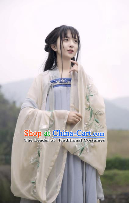 Traditional Ancient Chinese Palace Lady Hanfu Costume Embroidered Dress, Asian China Tang Dynasty Imperial Princess Clothing for Women