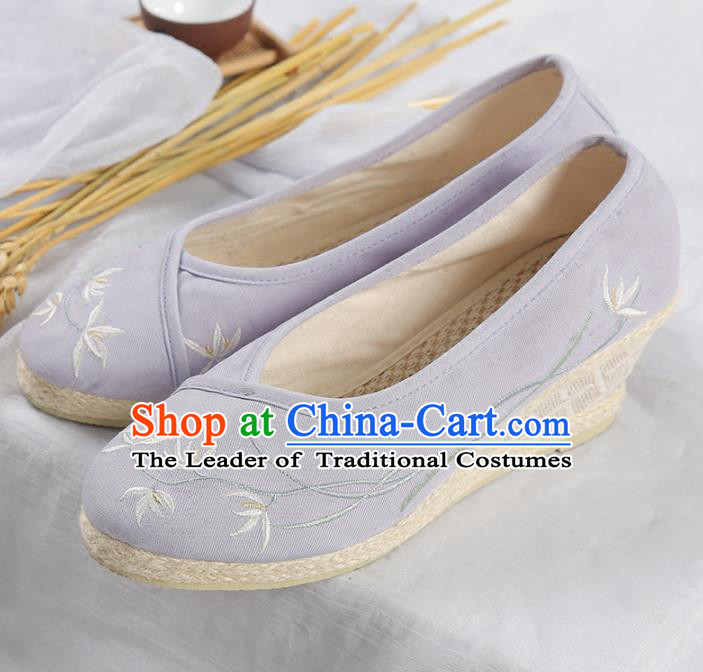 Traditional Ancient Chinese Palace Lady Hanfu Purple Embroidered Orchid Shoes, Asian China Princess Blood Stained Shoes for Women