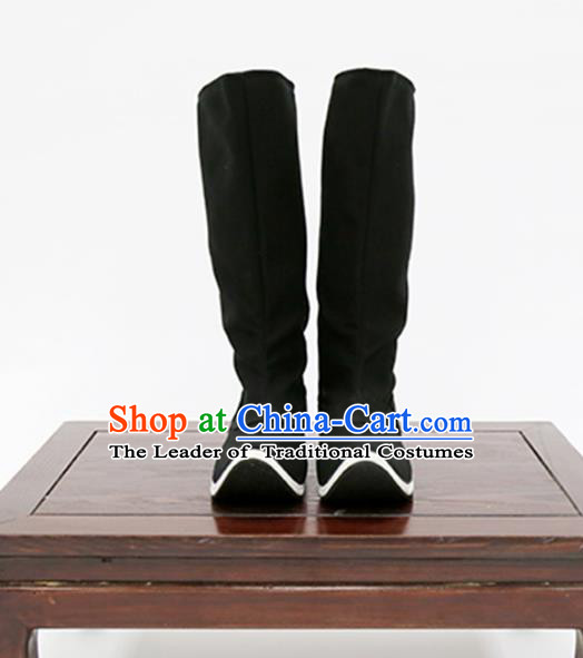 Traditional Ancient Chinese Hanfu Black Boots, Asian China Tang Dynasty Minister Shoes for Men