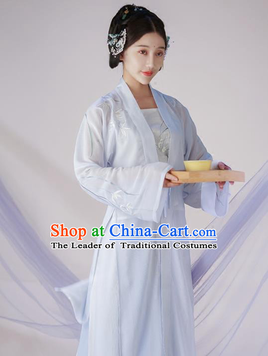 Traditional Ancient Chinese Young Lady Embroidered Costume Blouse and Pants Complete Set, Asian China Song Dynasty Imperial Princess Hanfu Clothing for Women