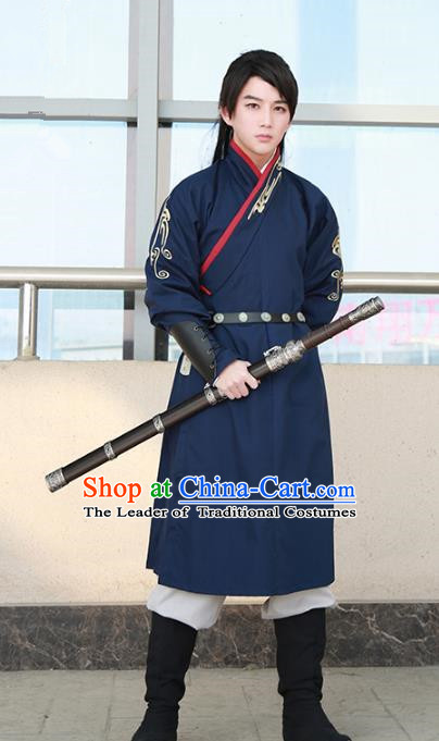 Traditional Ancient Chinese Swordsman Hanfu Costume Navy Embroidered Robe, Asian China Tang Dynasty Imperial Bodyguard Clothing for Men