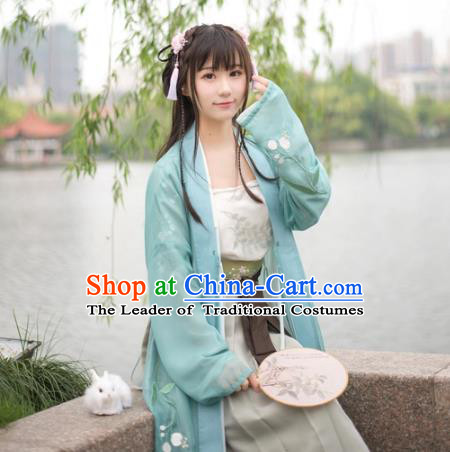 Traditional Chinese Song Dynasty Palace Lady Hanfu Costume Green BeiZi, Asian China Ancient Princess Dress Embroidered Clothing for Women