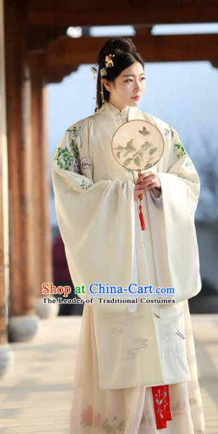 Traditional Ancient Chinese Palace Lady Hanfu Costume White Embroidered Cloak, Asian China Ming Dynasty Empress Cardigan Clothing for Women