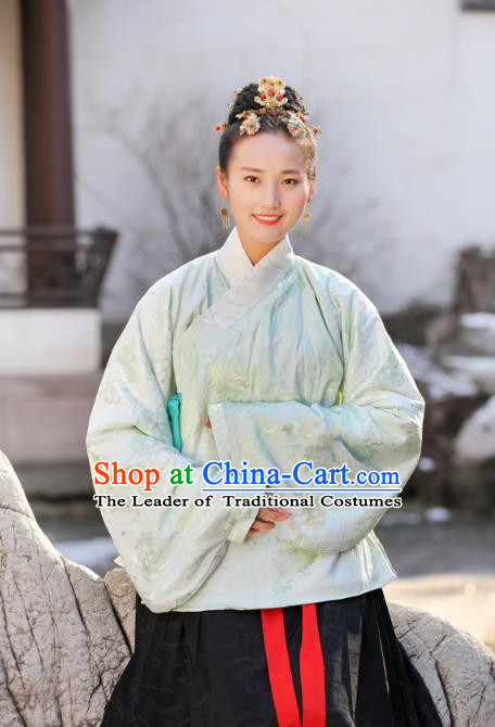Traditional Chinese Ancient Costume Princess Embroidered Green Blouse, Asian China Ming Dynasty Palace Lady Hanfu Clothing for Women