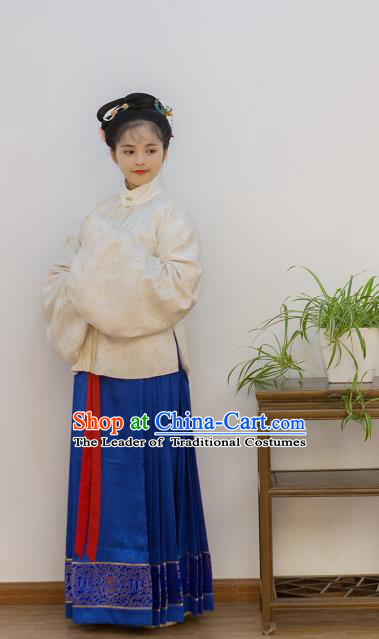Traditional Chinese Ancient Costume Palace Lady Embroidered Blouse and Slip Skirt, Asian China Ming Dynasty Imperial Princess Hanfu Clothing for Women