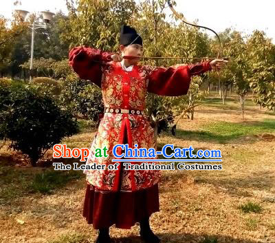 Traditional Chinese Ancient Costume Embroidered Red Vest, Asian China Ming Dynasty Swordsman Clothing for Men