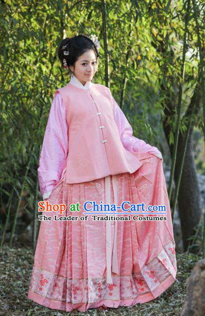 Traditional Chinese Ancient Costume Princess Embroidered Pink Vest and Blouse, Asian China Ming Dynasty Palace Lady Clothing for Women