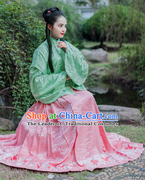 Traditional Chinese Ancient Costume Princess Embroidered Green Blouse and Skirt, Asian China Ming Dynasty Nobility Lady Hanfu Clothing for Women