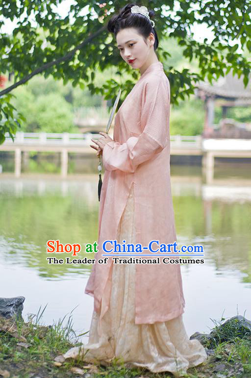 Traditional Chinese Ancient Costume Princess Embroidered Pink Cardigan, Asian China Song Dynasty Nobility Lady Hanfu Clothing for Women
