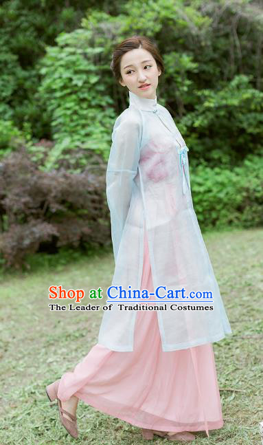 Traditional Chinese Ancient Costume Imperial Concubine Blue Embroidered Beizi Complete Set, Asian China Ming Dynasty Palace Lady Clothing for Women