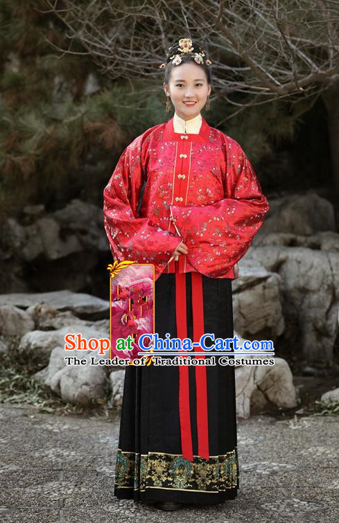 Traditional Chinese Ancient Costume Princess Red Embroidered Blouse and Skirt, Asian China Ming Dynasty Palace Lady Hanfu Clothing for Women