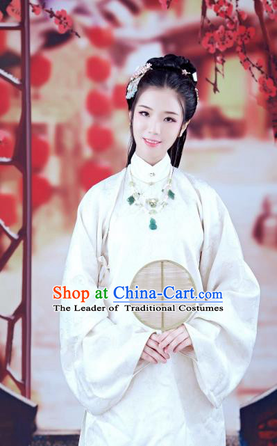 Traditional Chinese Ancient Costume Imperial Princess White Embroidered Long Blouse, Asian China Ming Dynasty Palace Lady Clothing for Women