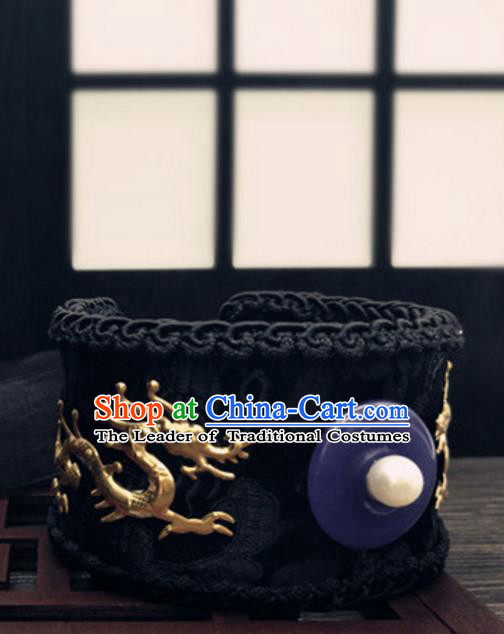 Traditional Handmade Chinese Ancient Classical Hair Accessories Emperor Dragons Tuinga Hairdo Crown Hairpins for Men