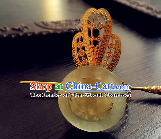 Traditional Handmade Chinese Ancient Classical Hair Accessories Han Dynasty Nobility Childe Golden Tuinga Jade Hairdo Crown Hairpins for Men