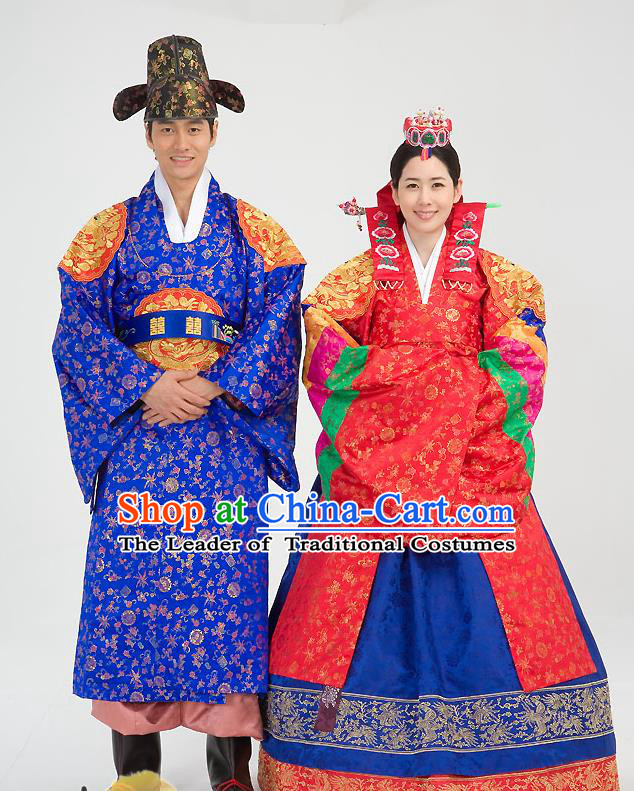 Traditional Korean Costumes Wedding Red Full Dress, Palace Lady Formal Attire Ceremonial Clothes, Korea Court Bride Embroidered Clothing for Women