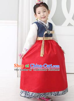Traditional Korean Costumes Children Full Dress, Palace Lady Formal Attire Ceremonial Clothes, Korea Court Embroidered Clothing for Kids