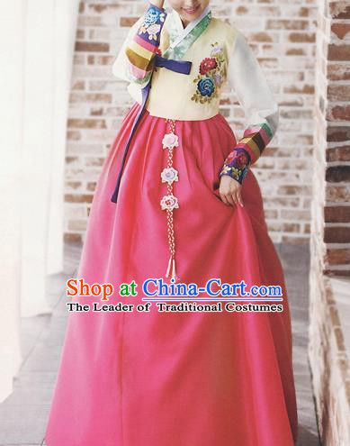 Traditional Korean Costumes Bride Formal Attire Ceremonial Yellow Blouse and Full Dress, Korea Hanbok Court Embroidered Clothing for Women