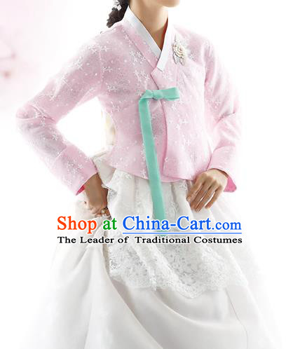 Traditional Korean Costumes Bride Formal Attire Ceremonial Pink Blouse and White Lace Dress, Korea Hanbok Court Embroidered Clothing for Women