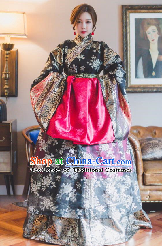 Traditional Korean Costumes Bride Wedding Black Clothing, Korea Hanbok Queen Court Embroidered Clothing for Women