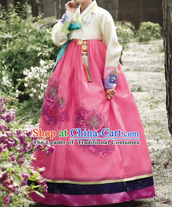 Traditional Korean Costumes Bride Wedding Rosy Dress, Korea Hanbok Queen Court Embroidered Clothing for Women