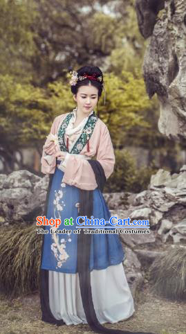 Traditional Chinese Ming Dynasty Nobility Lady Embroidered Costume Complete Set, Asian China Ancient Princess Hanfu Dress Clothing for Women