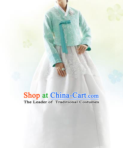 Traditional Korean Costumes Bride Formal Attire Ceremonial Green Blouse and White Dress, Korea Hanbok Court Embroidered Clothing for Women