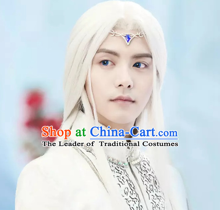 Ancient Chinese Fantasy White Long Wigs and Hair Jewelry for Men