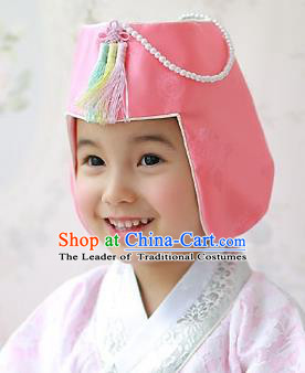 Traditional Korean Hair Accessories Girls Formal Occasions Embroidered Hats, Asian Korean Fashion Headwear for Kids