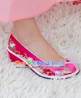 Traditional Korean National Wedding Pink Embroidered Shoes, Asian Korean Hanbok Bride Embroidery Shoes for Women