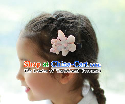 Traditional Korean National Hair Accessories Wedding Princess Light Pink Flowers Hair Stick, Asian Korean Fashion Hanbok Hair Claw Headwear for Girls