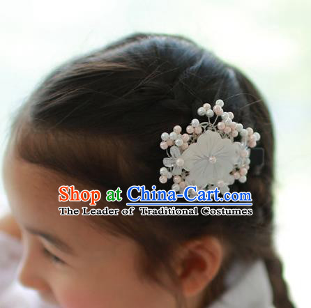 Traditional Korean National Hair Accessories Wedding Princess Shell Flowers Hair Stick, Asian Korean Fashion Hanbok Hair Claw Headwear for Girls