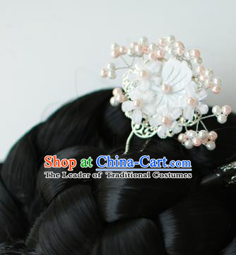 Traditional Korean National Hair Accessories Wedding Princess Beads Flowers Hairpins, Asian Korean Fashion Hanbok Hair Claw Headwear for Girls