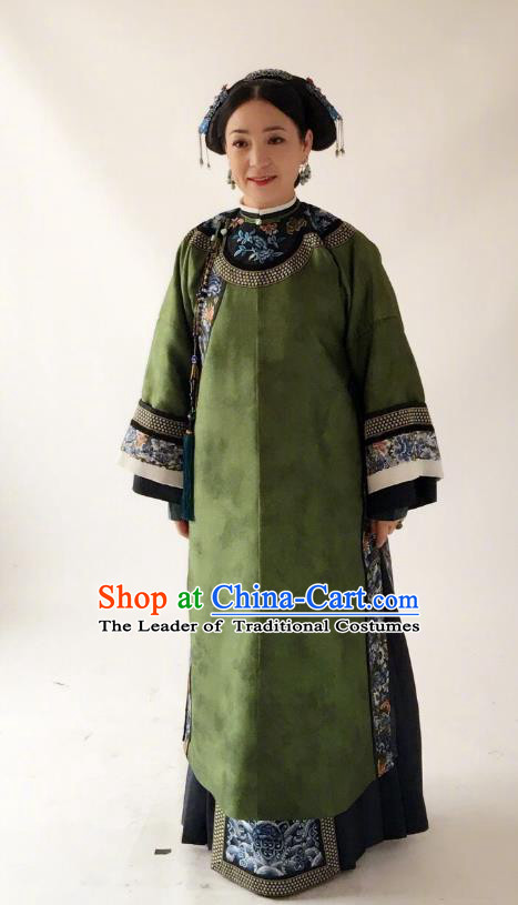 Traditional Ancient Chinese Old Granny Costume, Chinese Qing Dynasty Manchu Palace Lady Embroidered Clothing for Women