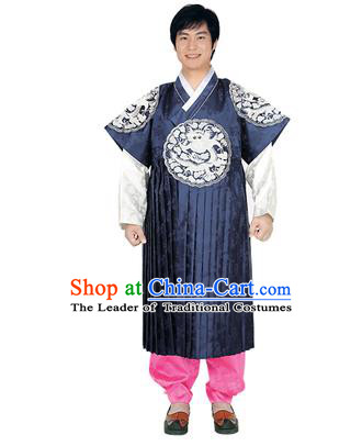 Korean National Traditional Handmade Wedding Embroidery Hanbok Costume, Asian Korean Bridegroom Navy Dragon Robe for Men