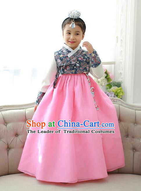Traditional Korean National Handmade Formal Occasions Girls Hanbok Costume Printing Blouse and Pink Dress for Kids