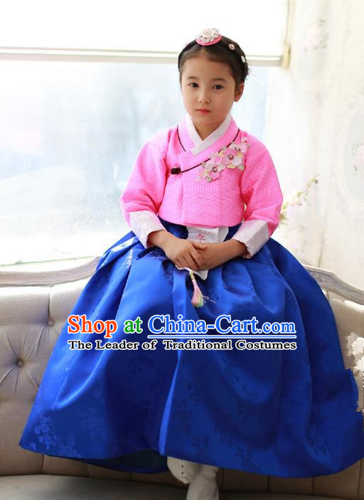 Korean National Handmade Formal Occasions Girls Embroidery Hanbok Costume Pink Blouse and Blue Dress Complete Set for Kids