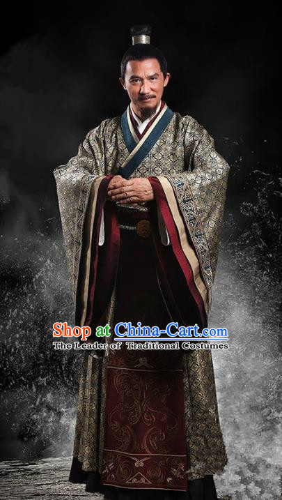 Traditional Chinese Ancient Han Dynasty Prime Minister Costume, Chinese Three Kingdoms Period Chancellor Embroidered Hanfu Clothing for Men