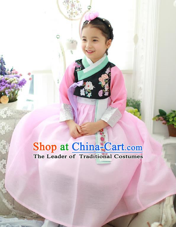Korean National Handmade Formal Occasions Girls Hanbok Costume Embroidery Black Blouse and Pink Dress for Kids