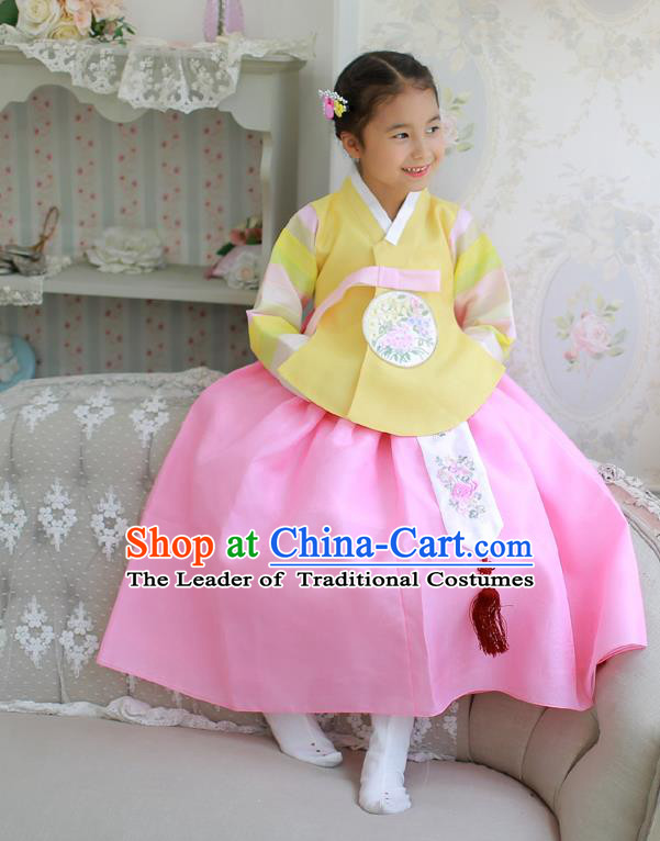 Korean National Handmade Formal Occasions Embroidered Yellow Blouse and Pink Dress Hanbok Costume for Kids