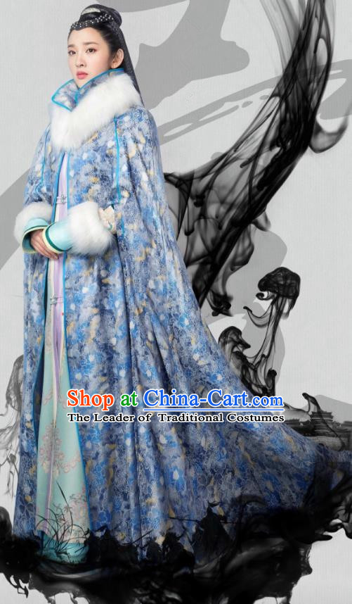 Traditional Chinese Qing Dynasty Princess Costume and Cloak Complete Set, China Ancient Manchu Lady Mandarin Embroidered Clothing for Women