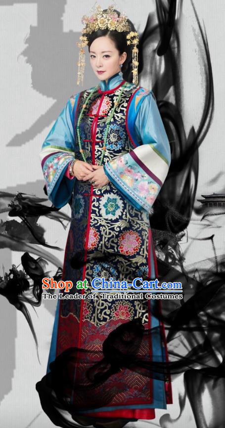 Traditional Chinese Qing Dynasty Imperial Empress Costume and Headpiece Complete Set, China Ancient Manchu Palace Lady Mandarin Embroidered Clothing for Women