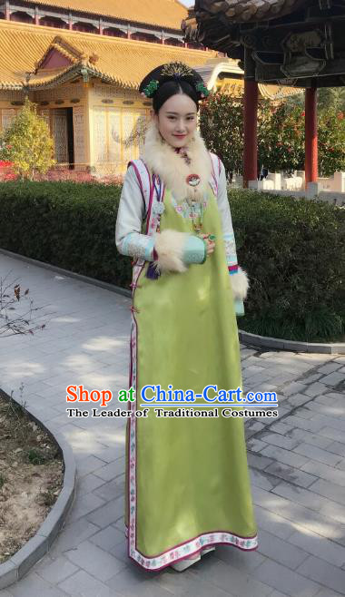 Traditional Chinese Qing Dynasty Imperial Concubine Costume and Headpiece Complete Set, China Ancient Manchu Palace Lady Mandarin Embroidered Clothing