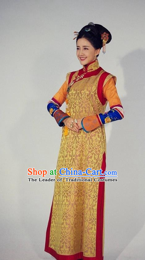 Traditional Chinese Qing Dynasty Palace Lady Costume and Headpiece Complete Set, China Ancient Manchu Imperial Concubine Mandarin Embroidered Clothing