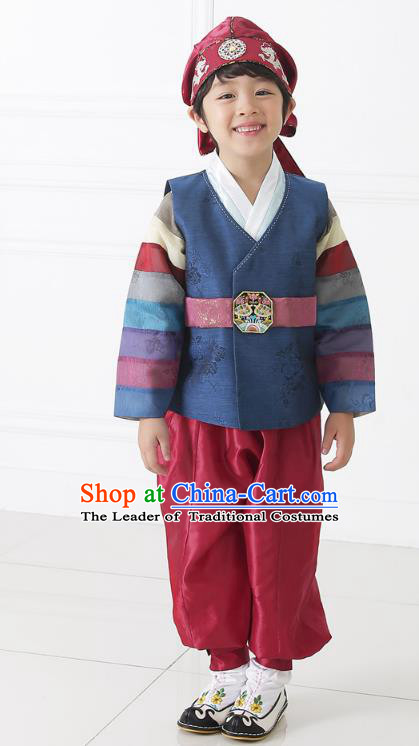 Asian Korean National Traditional Handmade Formal Occasions Boys Embroidery Navy Hanbok Costume Complete Set for Kids